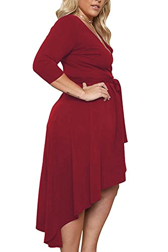 Nemidor-Womens-Solid-V-Neck-Knee-Length-34-Sleeve-High-Low-Plus-Size-Party-Dress-Wine-Red-16W-0
