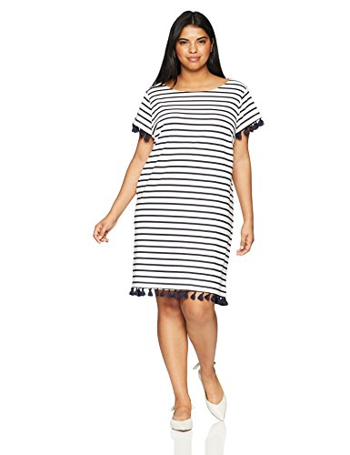 Jessica Howard Women's Plus Size Stripe Cap Sleeve Shift Dress