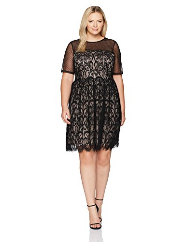London Times Women's Plus Size Fit & Flare Dress w. Illusion Neckline