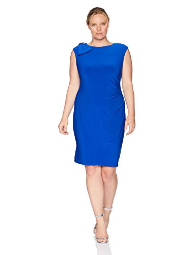 Jessica Howard Plus Size Womens Cap Sleeve Side Tuck Sheath