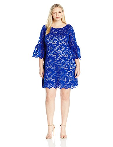 Eliza J Women's Plus Sizes Lace Shift Dress with Bell Sleeves